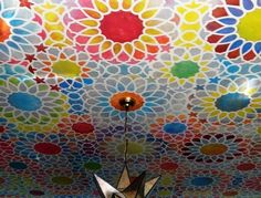 Hand painted dining room ceiling @Jennifer Morical this has your crafty self written all over it!