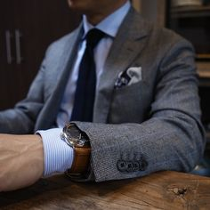 The watch over the shirt cuff.
