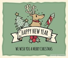 Hand-drawn Christmas greeting card maker including different main drawings and ribbons with messages. Edit your own wishes and personalize this xmas card online!