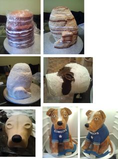 Dog Cake - How it's done, or at least, how i did it. Cake Icing Tips, Fondant Cakes, Cupcake Cakes, Cupcakes, Cake Decorating Techniques, Cake Decorating Tutorials, 3d Cake Tutorial, Fox Cake, Cake Structure
