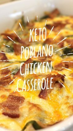 KETO Poblano Chicken Casserole is the perfect weeknight dinner.  It comes together super quick and is loaded with TONS of flavor, making this a dish everyone will LOVE! . #keto #poblano #casserole #dinner #recipe #spraklesnsprouts