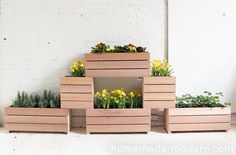 stackable wooden planters