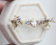 Oval moissanite cluster five stone engagement ring, tanzanite ring, cluster engagement ring, alterna Cute Rings, Pretty Rings, Unique Rings, Beautiful Rings, Pretty Wedding Rings, Unique Promise Rings, Dream Engagement Rings, Vintage Engagement Rings, Wedding Engagement