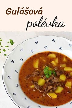This Czech goulash soup is a traditional recipe with beef, onion, potatoes and plenty of herbs and spices. With How To instructions, quick tips and photos. Goulash Soup Recipes, Best Soup Recipes, Beef Recipes, Cooking Recipes, Healthy Recipes, Czech Goulash, Czech Recipes, Ethnic Recipes, Beef And Potatoes