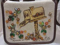 vintage ENID COLLINS TX Canvas Purse - BY THE ROADSIDE - Mailbox Handbag #EnidCollins #ShoulderBag