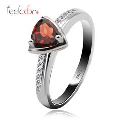2015 natural stone trillion red garnet engagement rings halo ring solid 925 sterling silver fine wholesale