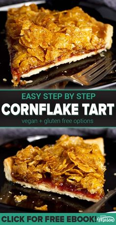 This cornflake tart recipe is a school dinner classic! A CRAZY easy tart recipe, it's also easily adapted to suit vegan, dairy free & gluten free diets too. Click through to see for yourself! Easy Tart Recipes, Tray Bake Recipes, Sweet Recipes, Baking Recipes, Cake Recipes, Dessert Recipes, Desserts, Cornflake Tart Recipe, Cornflake Cake