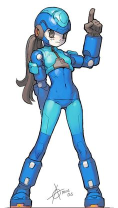 Artist Comment: White big face, silent, (o)__(o) expression. That's Megaman(girl).   Talking mood = not Megaman.