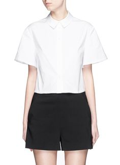 PROENZA SCHOULER Wide Sleeve Cotton Poplin Cropped Shirt. #proenzaschouler #cloth #shirt