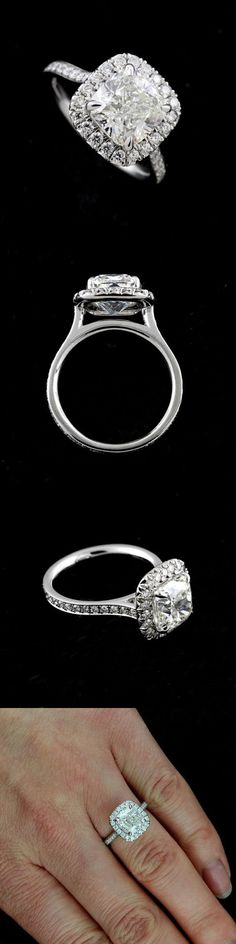 Settings Only 164309: Cushion Halo Diamonds Modern Contemporary Engagement Ring Setting Platinum 950 -> BUY IT NOW ONLY: $1819 on eBay!