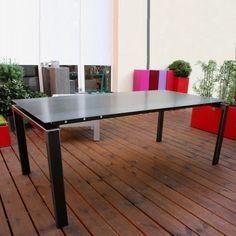 table industrielle metal brut : Table salle à manger métal brut rappelant le style loft pour un intérieur design et contemporain www.loftboutik.com