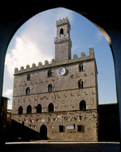 Palazzo dei Priori, the most ancient palace in the Piazza dei Priori - Volterra, Italy