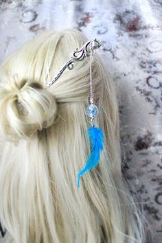 forget me not terrarium hair stick silver fox bright by SweetLine