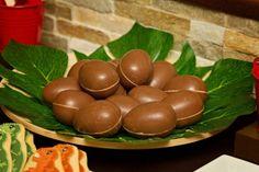 Unwrapped Kinder eggs make fantastic dinosaur eggs!