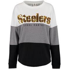 Women's Pittsburgh Steelers PINK by Victoria's Secret Black/Gray/White Bling Varsity Crew Neck Sweatshirt