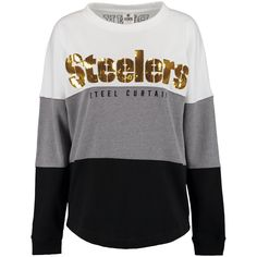 Women's Pittsburgh Steelers PINK by Victoria's Secret Black/Gray/White Bling Varsity Crew Neck Sweatshirt