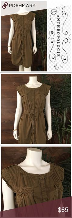 Hei Hei Army Green Dress Fabulous army green dress, with front button entry and draw string waist. Features front button flap pockets. Anthropologie Dresses