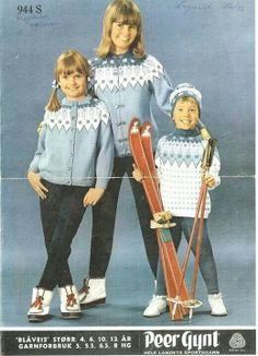 Child's fairisle yoke sweater, cardigan and hat. Pattern has light wear. Doll Costume, Costumes, Norwegian Knitting, Baby Barn, Chunky Knitting Patterns, Sweater Hat, Fair Isle Knitting, Wooden Dolls, Chunky Yarn
