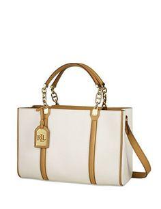 7715387194 Lauren Ralph Lauren Adlington Convertible Leather Shopp. White Tote ...