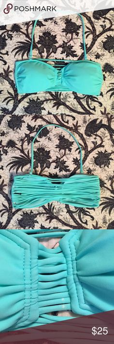 Strappy mint bikini top Monty blue/green, never worn! Adorable strait back. Love it just doesn't fit:( bought with two TINY white spots on front. Barely noticeable at all. Urban Outfitters Swim Bikinis