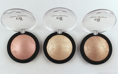 ELF Studio Baked Highlighters from left to right: Pink Diamonds, Moonlight Pearls, Blush Gems