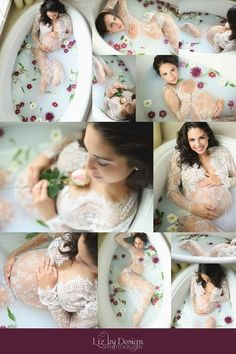 milk bath, bath with flowers, maternity session, elegant photos