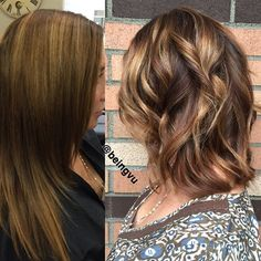 """""""From foils to #balayage on Heather today.  Soft A line #goldencaramel #colormelt #fallbalayage using #oribehaircare and #goldwell for the #Vudo and…"""""""