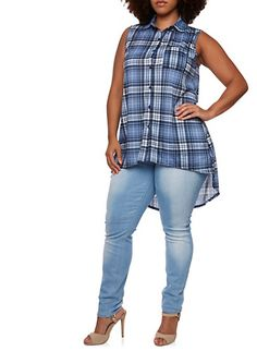 Plus Size Plaid Top with High-Low Hem