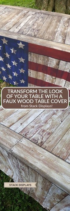 An ill fitting tablecloth can ruin the look of your entire display. Our unique fitted faux wood designs give your table a more professional look. Perfect for craft shows or vendor events or in retail settings. Transform the look of your table at a wedding and give it a rustic look! #rusticwedding #tablecovers #fauxwoodtablecover #stackdisplays
