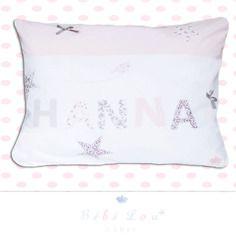 Coussin prénom personnalisé hanna - idéal cadeau de naissance - blanc et rose pastel