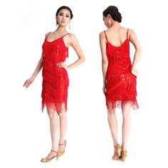 Latin Dance Dress Fringed Sequins Tassel Sexy Pole Skirt Costumes Clubwear