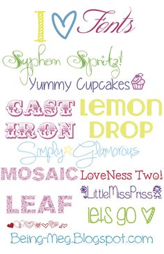 Being Meg: I LOVE Fonts!  ~~  {9 free fonts w/ easy download links}