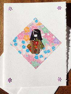 Japanese Doll Card black on pink 5x7 by ChiyogamiCrafts on Etsy, $6.00