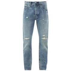 Levi's Men's 501 Customised & Tapered Jeans - Dirty Dawn (€58) ❤ liked on Polyvore featuring men's fashion, men's clothing, men's jeans, men, men's clothes, blue, mens button fly jeans, mens ripped jeans, mens blue jeans and levi mens jeans