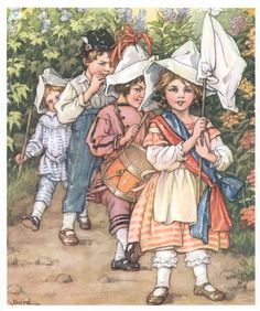 Marching Song-  Artist:Clara Burd A Children's Garden of Verses  Year:1930-United States Type:Original color print Print:  9-1/2 x 11-1/2 inches