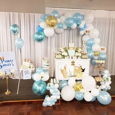 Little Prince  Beautiful Cake and cake pops by @p4ndaco Crown Topper and one cake Topper And Crown @lettersbyloulou Blue naked cake @littlesweetadventures Desserts cups by @sweetpeatreatsandevents_au Cupcakes and donuts by @sjcreations_syd Stationary and prints by @invitesbyveasnachea Balloons @floatingdesign All props @prop.my.party Planner/ Floral/stylist @blushingevents.co #desserts #caketable #christening #eventplanner #planner #Prince #love #cakemaking #cross #gold #balloons #sy...
