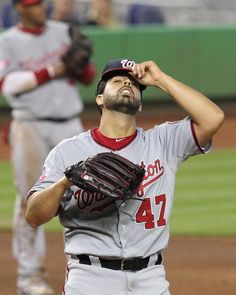 Gio Gonzalez reacts in the fifth inning of the Miami Marlins' game against the Washington Nationals at Marlins Park in Miami on Sunday, April 26, 2015.