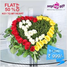 Exclusive #Offer! Flat 50% OFF. Get this #Elegant #Key to My #Heart #Bouquet worth ₹1,999 at just ₹999 only at #Sendmygift. This #Bouquet comes in a Heart Shaped arrangement of Vibrant #Red, #White and #Yellow #Roses with #Green #Fillers. Enthral #her with this #beautiful bouquet and move into the next step of your #relationship. Order now at http://bit.ly/2btRjYp  ROSES You Hold The Key To Happiness Relationships Relationship Goals︎︎ Happiness India Sendmygift
