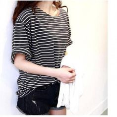 New Basic Shirt Top Women Girl Loose Round Neck Strip Half-sleeve T-shirt