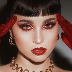 Red Makeup Looks, Light Makeup Looks, Red Eye Makeup, Beauty Makeup, Punk Makeup, Rave Makeup, Red Eyeliner, No Eyeliner Makeup, Romantic Makeup