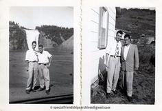 <Let's visit Quebec> I found the pictures of those two men in different boxes at a flea market. I was able to match their faces ! It's probably in the 1950's. You can see the Montmorency Falls behind. /// J'ai trouvé ces deux photos dans deux boites différentes dans un marché aux puces. J'ai pu associer leurs visages plus tard! C'est probablement dans les années 1950. On peut voir les Chutes Montmorency. #quebec #montmorency #bromance