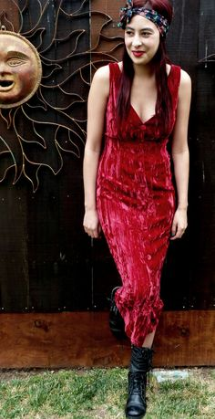 Vintage 1980's Red Crushed Velvet Dress Contempo by HipVintageSoul, $52.00