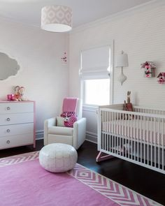 Sissy and Marley modern pink nursery overview. Photography by Marco Ricca