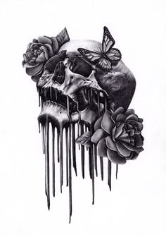 Skull and Roses tattoo idea