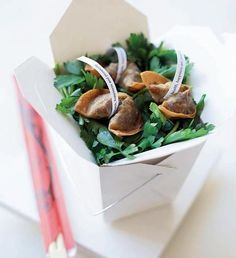"""Spicy beef """"Fortune cookies"""" in mini dim sum boxes {Peter Callahan Catering, Photo: Ross Whitaker}"""
