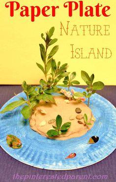 Paper Plate Play Dough Nature Island - This craft combines art, fine motor skills, sensory & nature