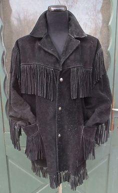 RARE Vintage Black Fringed Suede Leather SCHOTT Western Jacket Hippie Cowboy -44