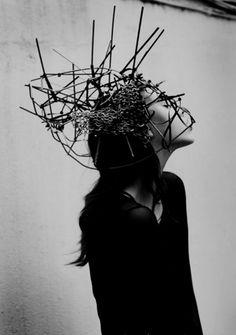 Dark Fashion - sculptural crown; avant garde fashion design; creative headpiece