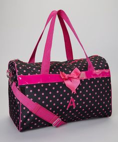 Another great find on #zulily! Black & Pink Polka Dot Initial Duffel by Overdressed Inc. #zulilyfinds