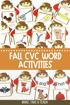 These hands on activities for teaching CVC words are ideal for small group instruction. The self checking feature of these CVC word activities also makes them perfect for kindergarten or first grade independent centers. Short Vowel Activities, Phonics Activities, Hands On Activities, Teaching Phonics, Kindergarten Literacy, First Grade Games, Short Vowels, Cvc Words, Activity Centers